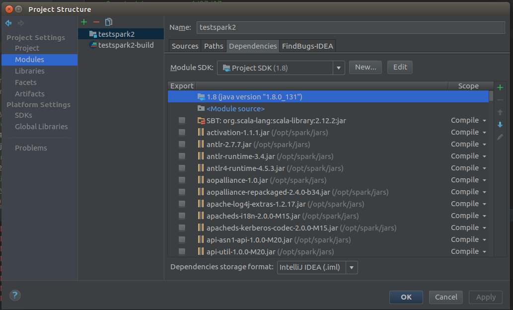 Setup Apache Spark in JetBrains IntelliJ (Scala Version)